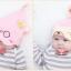HT407••หมวกเด็ก•• / หมวกบีนนี่-หมีมงกุฎ (สีชมพู) thumbnail 2