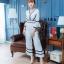 E00100 จั๊มสูท ขายาว คอวี ผ้ามอสเครป thumbnail 1
