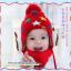 หมวกไหมพรมสำหรับเด็ก หมวกกันหนาวเด็กเล็ก ลายดวงดาวติดปีก (ไม่มีผ้าพันคอ) [มี 5 สี] thumbnail 4