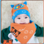 AP149••เซตหมวก+ผ้ากันเปื้อน•• / [สีส้ม] แมวเหมียว+ปลา thumbnail 4