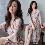 ชุดเดรสยาวชีฟอง ลายดอกFlora Premium Dress