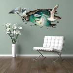 """สติ๊กเกอร์ติดผนังตกแต่งบ้าน """"3D Seagulls"""" ความสูง 68 cm ยาว 118 cm"""