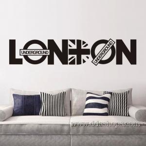 """ไวนิล สติ๊กเกอร์ติดผนัง ตกแต่งบ้าน """"LONDON"""" ความสูง 20 cm ความกว้าง 92 cm"""