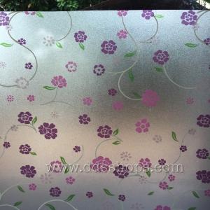 """PVC สุญญากาศติดกระจก หน้ากว้าง 90cm """"Purple Cute Flora"""" ตัดแบ่งขายเมตรละ 250 บาท"""