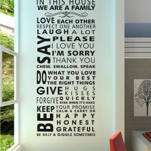 """ไวนิล สติ๊กเกอร์ติดผนัง ตกแต่งบ้าน ขนาดใหญ่ """"In This House"""" ความสูง 128 cm ความกว้าง 55 cm"""