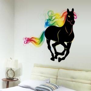 """สติ๊กเกอร์ติดผนังตกแต่งบ้าน """"ม้า Color Horse"""" ความสูง 90 cm กว้าง 80 cm"""