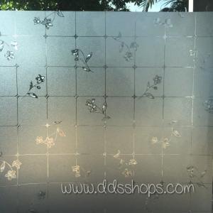 "PVC สูญญากาศติดกระจก ""Beautiful Flowers Static"" หน้ากว้าง 90 cm ราคาต่อเมตร 270 บาท"