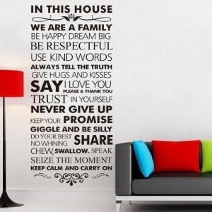 """ไวนิล สติ๊กเกอร์ติดผนัง ตกแต่งบ้าน ขนาดใหญ่ """"In This House II"""" ความสูง 128 cm ความกว้าง 55 cm"""