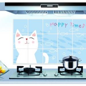 """สติ๊กเกอร์ติดครัว กันน้ำมันกระเด็น อลูมิเนียม """"Happy Time"""" ขนาด 45cm x 75cm"""