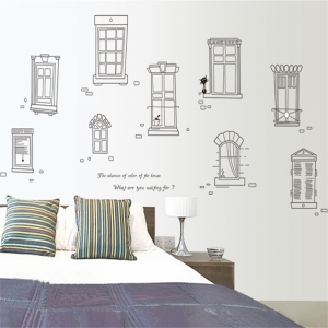 """สติ๊กเกอร์ตกแต่ง หน้าต่าง """"Windows of Town"""" ความสูง 90 cm กว้าง 130 cm"""