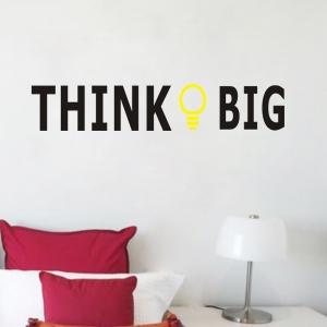 """ไวนิล สติ๊กเกอร์ติดผนัง ตกแต่งบ้าน ขนาดใหญ่ """"Think Big"""" ความสูง 12 cm ความกว้าง 58 cm"""
