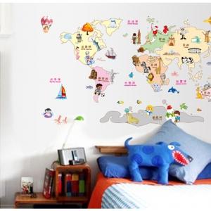 """สติ๊กเกอร์ติดผนังตกแต่งห้อง """"แผนที่ World kids map"""" ความสูง 80 cm กว้าง 120 cm"""