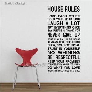 """ไวนิล สติ๊กเกอร์ติดผนัง ตกแต่งบ้าน ขนาดใหญ่ """"House Rule"""" ความสูง 130 cm ความกว้าง 56 cm"""