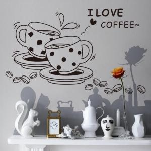 """ไวนิล สติ๊กเกอร์ติดผนัง ตกแต่งบ้าน """"I Love Coffee """" ความสูง 46 cm ความกว้าง 73 cm"""