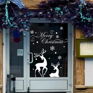 """สติ๊กเกอร์ตกแต่งสำหรับเทศกาลคริสต์มาส """"Merry Xmas and Reindeer"""" ความสูง 92 cm ยาว74 cm"""