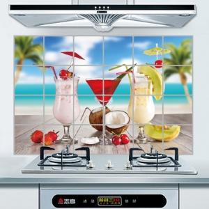 """สติ๊กเกอร์ติดครัวกันน้ำมันกระเด็น """"Cocktail"""" ขนาด 60 cm x 90 cm"""