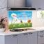 """สติ๊กเกอร์ติดครัวกันน้ำมันกระเด็น """"Green Grass Daisy"""" ขนาด 60 cm x 90 cm thumbnail 2"""