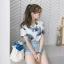 เสื้อเชิ้ตใบไม้แขนสั้น ผ้าป่านเกาหลี thumbnail 1