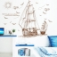 """สติ๊กเกอร์ติดผนังตกแต่งบ้าน (AU) """"เรือ Sailboat"""" ความสูง 89 cm ยาว 120 cm thumbnail 3"""