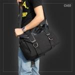 CV22 กระเป๋าสะพายข้าง ผ้าแคนวาส สีดำ + หนัง PU