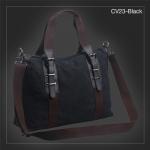 CV23-Black กระเป๋าถือผู้ชาย + สะพายข้าง ผ้าแคนวาส สีดำ