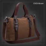 CV23-Brown กระเป๋าถือผู้ชาย + สะพายข้าง ผ้าแคนวาส สีน้ำตาล