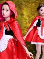 ชุดคอสเพลย์เด็กแฟชั่น แนวเจ้าหญิงฮาโลวีน สาวน้อยเสื้อคลุมสีแดง
