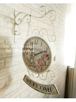 นาฬิกาแขวนวินเทจ 2 หน้า รุ่น PARIS ขาว