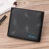 DEELFEL GS03-H แนวนอน ใบสั้น กระเป๋าสตางค์ผู้ชายหนังแท้ สีดำ ลายขนนก