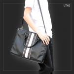 LT45 กระเป๋าถือผู้ชาย + สะพายข้าง หนัง PU สีดำ