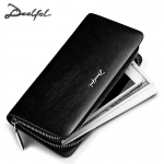 DEELFEL GL01-Black กระเป๋าสตางค์ผู้ชายหนังแท้ กระเป๋าสตางค์ใบยาว สีดำ กระเป๋าเงิน กระเป๋าถือ