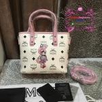กระเป๋า MCM Mini Anya Top Zip Shopper สีขาวขอบชมพู งานHiend Original
