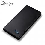 DEELFEL GL02-Black กระเป๋าสตางค์ผู้ชายหนังแท้ กระเป๋าสตางค์ใบยาว สีดำ กระเป๋าเงิน กระเป๋าถือ