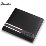 DEELFEL GS02 กระเป๋าสตางค์ผู้ชายหนังแท้ กระเป๋าสตางค์ใบสั้น แนวนอน สีดำ กระเป๋าเงิน กระเป๋าถือ