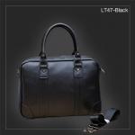 LT47-Black กระเป๋าถือผู้ชาย + สะพายข้าง หนัง PU สีดำ