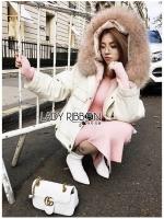 🎀 Lady Ribbon's Made 🎀 Lady Emma Winter Big Fur-Hood White Denim Jacket