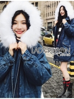🎀 Lady Ribbon's Made 🎀 Lady Lucia Winter Chic Fur-Hood Denim Jacket