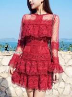 เดรสลูกไม้ Brand Selt Portrait สีแดง