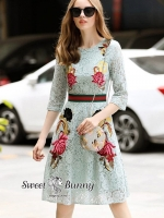 Sweet Bunny Present... Embroidered Cluster Lace Dress