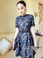 🎀 Lady Ribbon's Made 🎀 Lady Natalie Sophisticated Chic Navy Blue and Nude Self-portrait Lace Dress