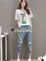 Seoul Secret Say's... Braid Emer Green Squiny Denim Set