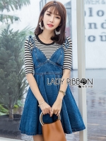 🎀 Lady Ribbon's Made 🎀Lady Anna Street Chic Striped T-Shirt with Denim Dress