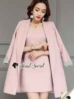Seoul Secret Say's... Chic Coral Pink Cami Suite Set สีชมพู