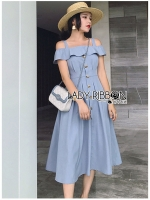 🎀 Lady Ribbon's Made 🎀 Lady Catherine British Style Button-Down Off-Shoulder Dress