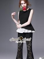 Seoul Secret Say's... Nifty Nite Laura Black Lace Pleat set