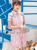Seoul Secret Say's... Pink Daisy Lace Dress