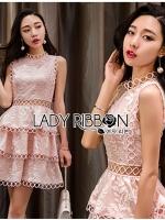 🎀 Lady Ribbon's Made 🎀 Lady Layla Baby Pink Ruffle Layered Embroidered Lace & Cotton Dress ชมพู