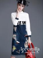 cartoon stitching lapel long-sleeved denim shirt dress