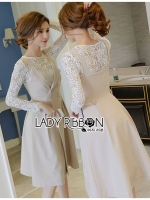 🎀 Lady Ribbon's Made 🎀 Lady Vanessa Elegant Chic Double-Breasted Beige Dress Over White Lace Blouse Set