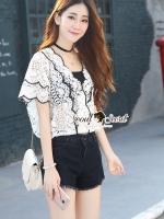 Seoul Secret Say's... Curly Lace Chic Black Rim V Blouse